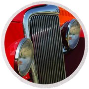 Ford Roadster Grille Round Beach Towel