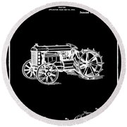 Ford Tractor Patent 1919 Black Round Beach Towel