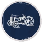 Ford Tractor Patent 1919 Round Beach Towel