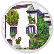 Foreshortening Of House Covered With Climbing Plants Round Beach Towel