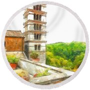 Foreshortening With Bell Tower And Wood Round Beach Towel