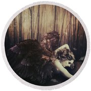 Forest Angel Round Beach Towel