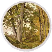 Forest At Fontainebleau Round Beach Towel
