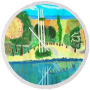 Forest At The Shore Round Beach Towel