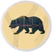 Forest Bear Round Beach Towel