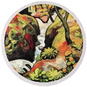 Forest Brook By August Macke Round Beach Towel