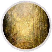 Forest Butterfly Moon Round Beach Towel