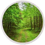 Forest Byway Round Beach Towel