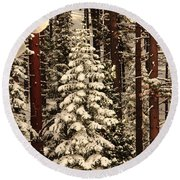Forest Christmas Tree Round Beach Towel