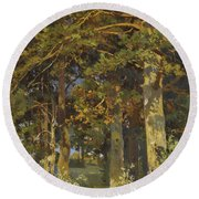 Forest Clearing Round Beach Towel