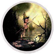 Forest Elf Round Beach Towel