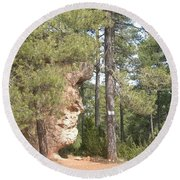 Forest Face Round Beach Towel