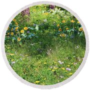 Forest Flowers Landscape Round Beach Towel
