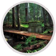 Forest Foot Bridge Round Beach Towel