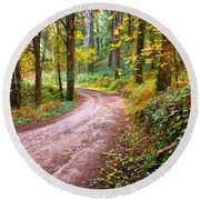 Forest Footpath Round Beach Towel by Carlos Caetano