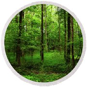 Forest Greenery Round Beach Towel