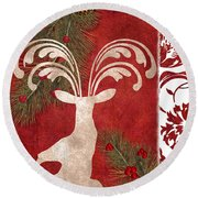 Forest Holiday Christmas Deer Round Beach Towel