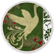 Forest Holiday Christmas Goose Round Beach Towel