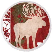 Forest Holiday Christmas Moose Round Beach Towel