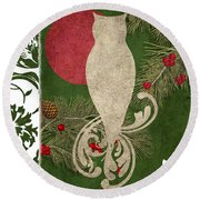 Forest Holiday Christmas Owl Round Beach Towel