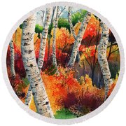Forest In Color Round Beach Towel