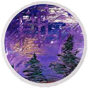 Forest In Lsd Round Beach Towel