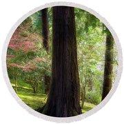Forest In Portland Japanese Garden Round Beach Towel