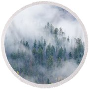 Forest In The Clouds Round Beach Towel