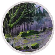 Forest In Wales Round Beach Towel