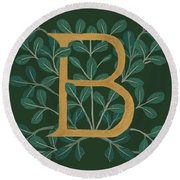 Forest Leaves Letter B Round Beach Towel