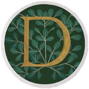 Forest Leaves Letter D Round Beach Towel