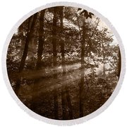 Forest Mist B And W Round Beach Towel