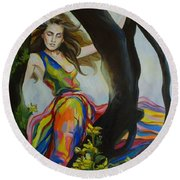 Forest Nymph  Round Beach Towel