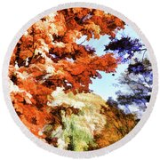 Forest Of Fall Colors Round Beach Towel