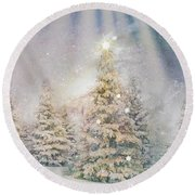 Forest Of Trees In The Light Round Beach Towel