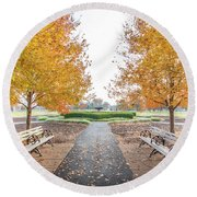 Forest Park Benches Round Beach Towel