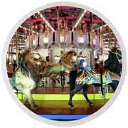 Forest Park Carousel Round Beach Towel