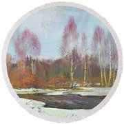 Forest River In Winter Round Beach Towel