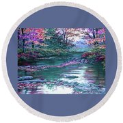 Forest River Scene. L A Round Beach Towel