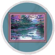 Forest River Scene. L B With Alt. Decorative Ornate Printed Frame. No. 1 Round Beach Towel
