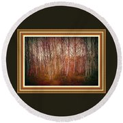 Forest Scene. L A With Decorative Ornate Printed Frame. Round Beach Towel