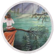 Forest Serenade Round Beach Towel
