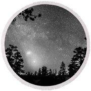 Forest Silhouettes Constellation Astronomy Gazing Round Beach Towel