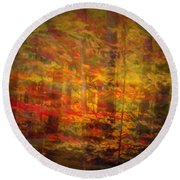 Colorful Forest, Smoky Mountains, Tennessee Round Beach Towel