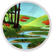 Forest Stream - Through The Forest Series Round Beach Towel