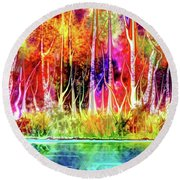 Forest Stream Round Beach Towel by Darren Cannell