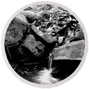 Forest Stream In Black And White Round Beach Towel
