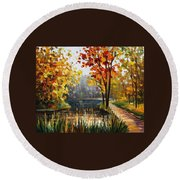 Forest Stream Round Beach Towel