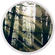 Forest Sunrise Round Beach Towel