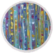 Forest Through The Trees, Abstract Art Round Beach Towel